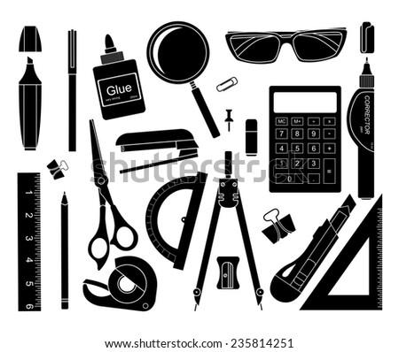 Set of black stationery tools: marker, paper clip, pen, binder, clip, ruler, glue, zoom, scissors, scotch tape, stapler, corrector, glasses, pencil, calculator, eraser, knife, compasses. Raster - stock photo