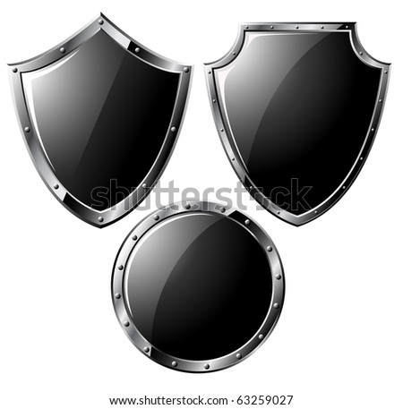 Set of black steel shields - isolated on white (raster image)