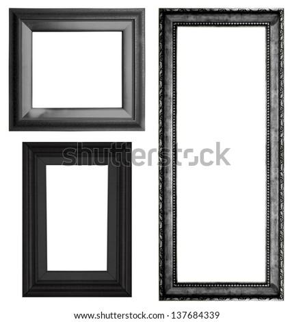 Set of black vintage frame isolated on white background - stock photo