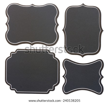 set of blank  black board vintage  tags   isolated on white background - stock photo