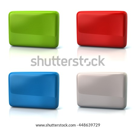 Set of blank buttons isolated on white background - stock photo