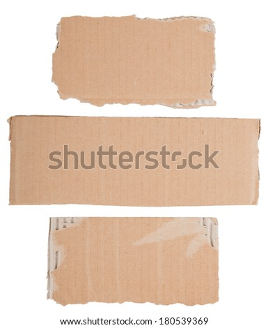 set of blank cardboard signs with torn edges - stock photo