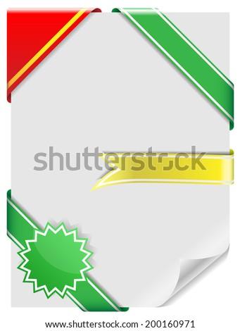Set of blank decorative corner ribbons isolated on white background. - stock photo