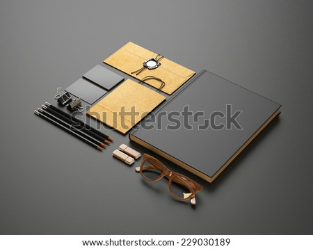 Set of blank elements on black paper background - stock photo