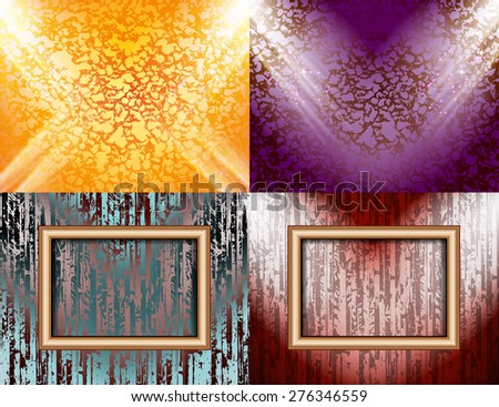Set of Blank frame on a color wall lighting, abstract colored background with spotlights.  illustration - stock photo