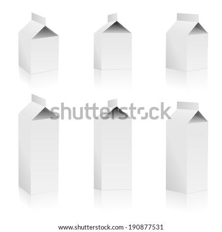 Set of blank milk packs isolated on white background. - stock photo
