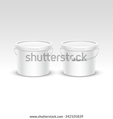 Set of Blank Plastic Bucket Container Packaging Isolated on White Background - stock photo