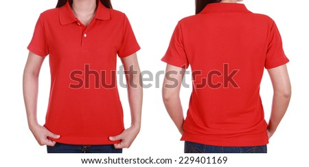 set of blank polo shirt (front, back) on woman isolated on white background - stock photo