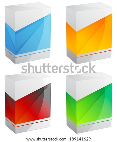 Set of Blank Product Boxes - stock photo