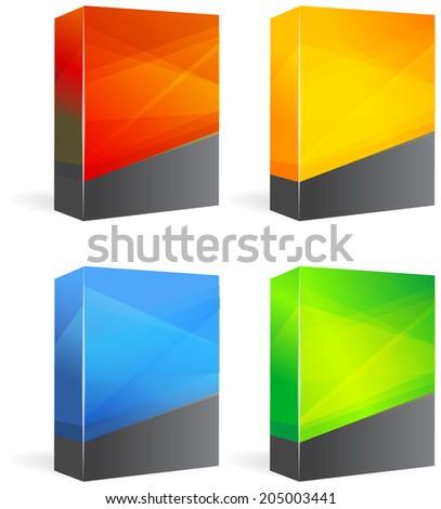 Set of Blank Product Boxes - Illustration - stock photo