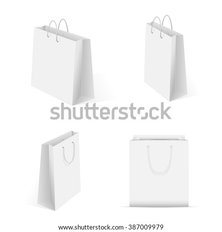 Set of blank shopping package isolated on white background, illustration.