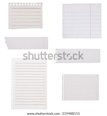 Set of blank squared and lined paper isolated on white - stock photo