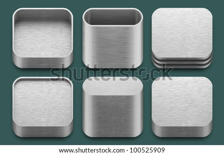 Set of blank template app aluminium icons for applications. - stock photo