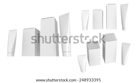 Set of blank white plastic cosmetics bottles and cardboard box isolated on white background.Ready For Your Design.  - stock photo