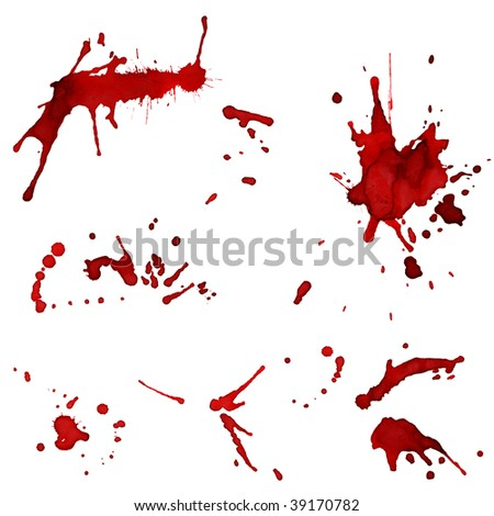 Set of bloody red blots - splashes - XXL size - stock photo