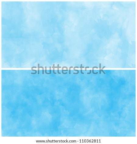 Set Of Blue Abstract watercolor background - stock photo