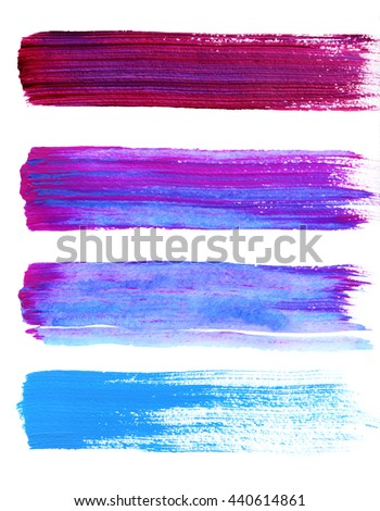 Set of blue and violet hand painted strokes  - stock photo