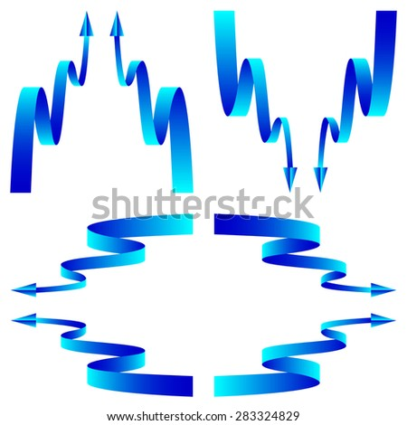 set of blue arrows with aqua wave isolated on white background. raster illustration - stock photo