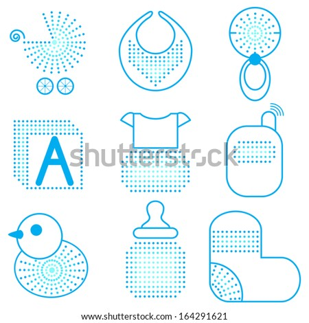 Set of blue baby's symbols