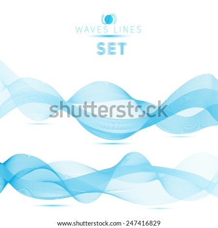 set of blue blend abstract long waves background elements - stock photo