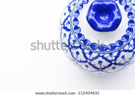Set of blue chinaware - stock photo