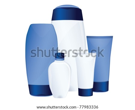 Set of blue cosmetic bottles - stock photo