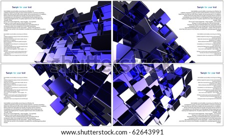 set of blue 3D cube abstraction - stock photo