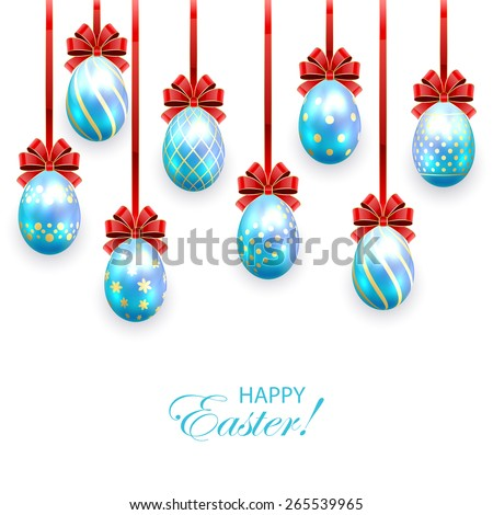 Set of blue Easter eggs with decorative patterns and bow isolated on white background, illustration. - stock photo