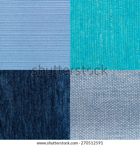 Set of blue fabric samples, texture background. - stock photo