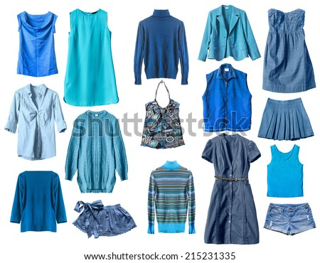 Set of blue female clothes isolated over white - stock photo