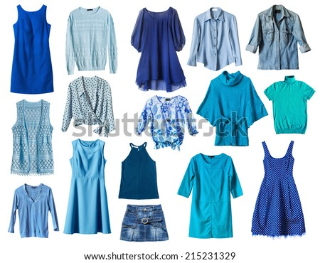 Set of blue female clothes on white background - stock photo
