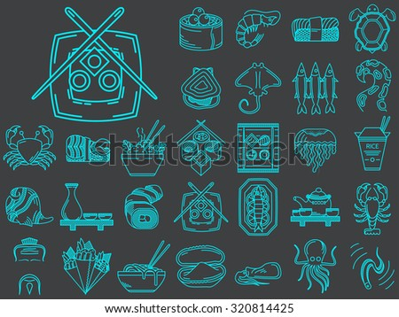 Set of 30 blue flat line icons for elements of asian seafood menu on black background - stock photo