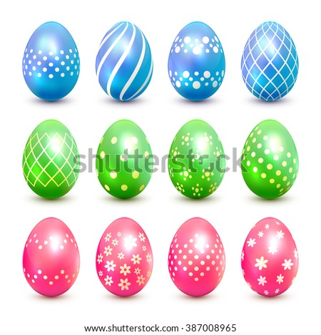 Set of blue, green and pink Easter eggs with decorative patterns, illustration. - stock photo