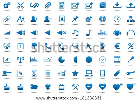 Set of blue icons isolated on white background (Vector version is also available in my portfolio, ID 123095341) - stock photo