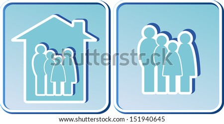 set of blue icons with family people silhouette - stock photo