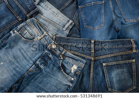 Set of blue jeans,
