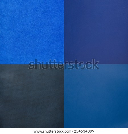 Set of blue leather samples, texture background.