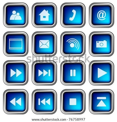 Set of Blue Modern 3D Square Web Icons - stock photo