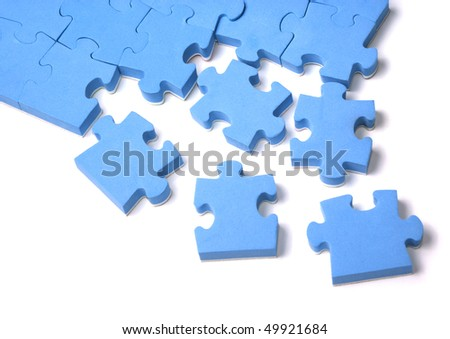 Set of blue puzzles over white