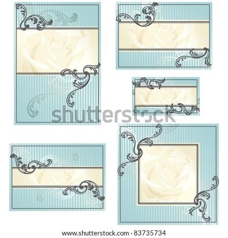 Set of blue Rococo wedding designs (jpg); vector version also available - stock photo