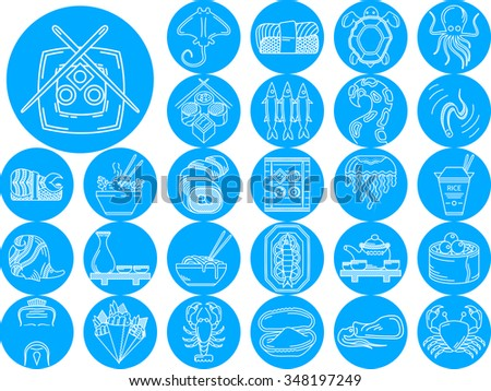 Set of 27 blue round flat icons with white line japanese food. Sushi, seafood dish, sake, fish, rice and other menu elements for restaurant business - stock photo