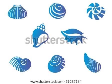 Set of blue seashells or logo template. Vector version also available - stock photo
