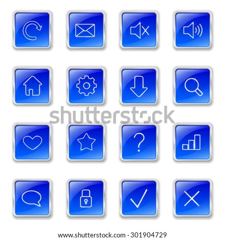 Set of blue square buttons with metallic web icons. Raster version - stock photo