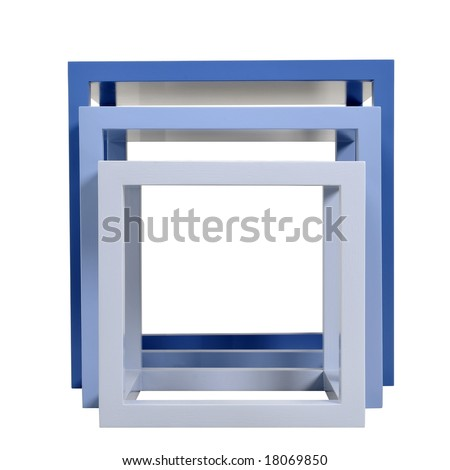 set of blue tables against white background