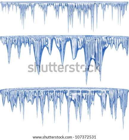 Set of 3 blue thawing icicles for christmas design - stock photo