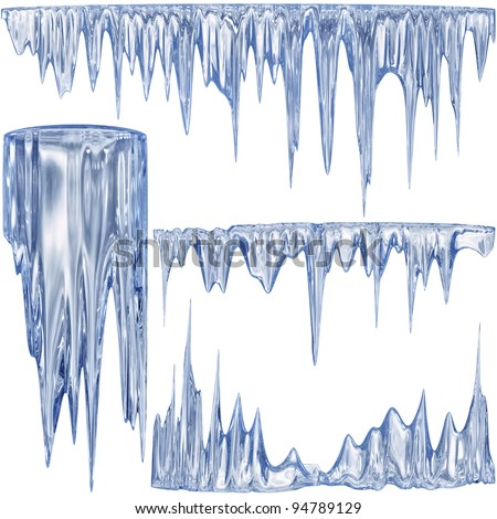 Set of 4 blue thawing icicles for christmas design - stock photo