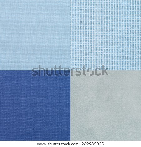 Set of blue vinyl samples, texture background.