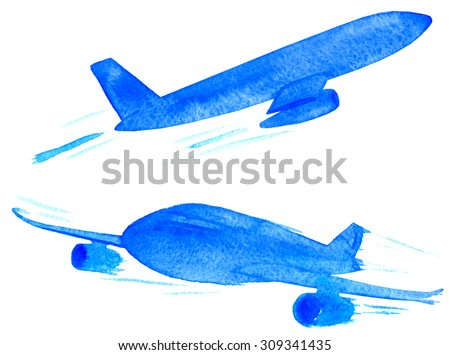 Set of blue watercolor planes on isolated background - stock photo