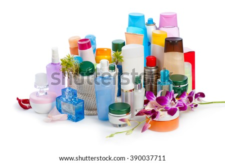 set of  body cosmetics with orchid on white background - stock photo