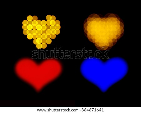 Set of bokeh love hearts over black background - stock photo